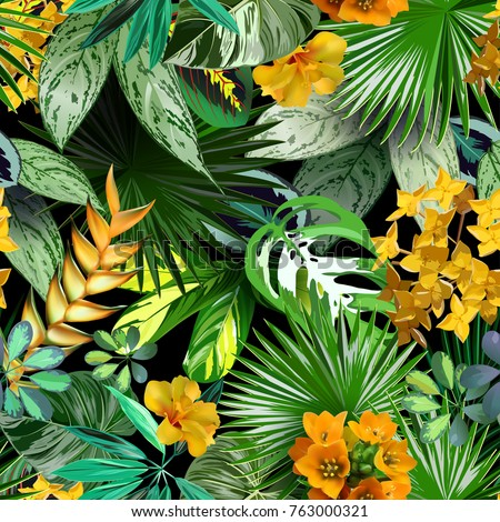 Vectoor tropical leaves and flowers,seamless pattern for wrapping paper, textiles, tropical background, travel design, spa, cosmetics
