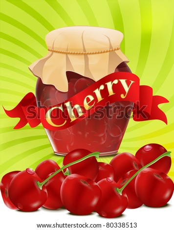 vector a can of cherry jam with red ribbon on green background