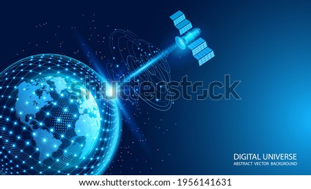 Vector. A satellite in orbit transmits a signal to the surface of our planet. Space Internet. World Wide Web. A satellite in orbit transmits a signal to the surface of our planet. Planet Earth.