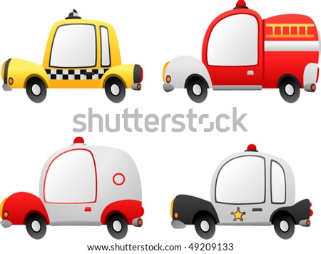 vector a set of cartoon occupation cars - stock vector
