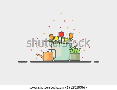 vector a set of potted plants with watering can on a gray background. plant vector. plant illustration. can be used for invitation cards, backgrounds, and wallpapers.