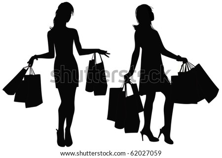 Vector a silhouette of two girls with purchases