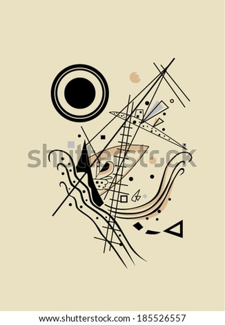 Vector abstract art. Kandinsky's abstract expressionism.