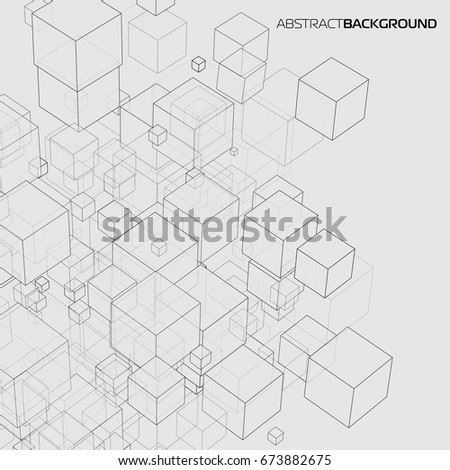 Vector abstract background 3d cubes of different size in perspective for your design, business style, logo, print or internet.