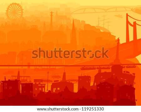 Vector abstract background downtown part of big city with roofs, windows, on river in sunset.