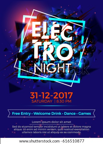 Vector Abstract Background for Banner, Poster, Brochure and Flyer for Eve, Party, Club and Celebration.