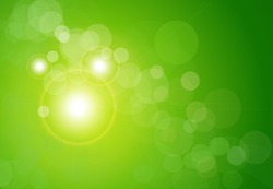 Vector abstract background green and fresh bokeh