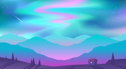 Vector abstract background. Northern Lights. Landscape in minimalistic concept.