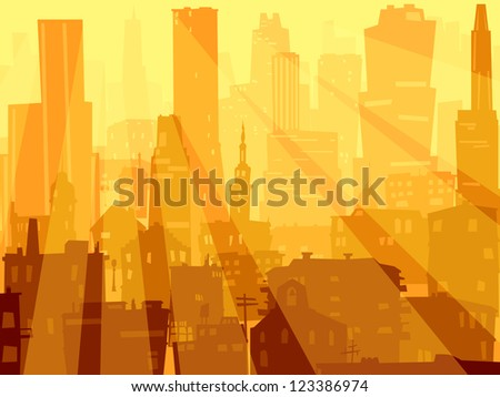 Vector abstract background of big city with roofs, windows and rays of sun through skyscrapers.