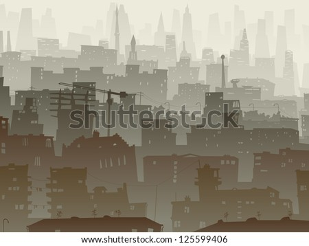 Vector abstract background of big city with roofs, windows in dusk mist. - stock vector