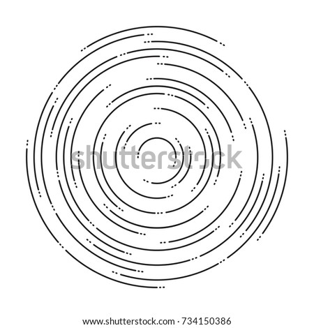 vector abstract background of concentric ripple circles. circular lines graphic pattern. dashed line ripples