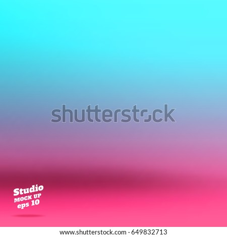 Vector abstract background of empty bright gradient pink to light blue studio room ,Template mock up for display of product. Business backdrop, summer color theme