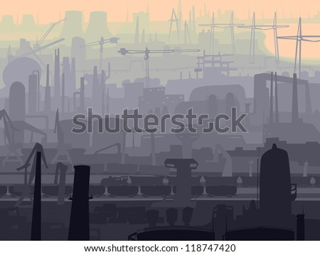 Vector abstract background of industrial part of city with mills, factories, chimneys in the morning.