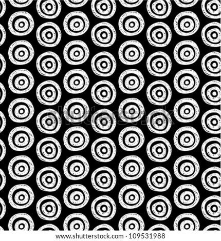 Vector abstract background. Seamless black and white hand drawn circles pattern. Can be used for wallpaper, pattern fills, web page background, surface textures