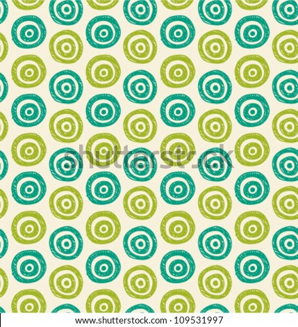 Vector abstract background. Seamless green hand drawn circles pattern. Can be used for wallpaper, pattern fills, web page background, surface textures