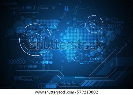Vector abstract background technology world map concept.