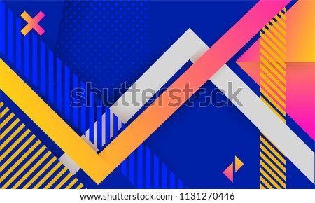 Vector abstract background texture design, bright poster, banner blue background, pink and yellow stripes and shapes. Dynamic shapes composition.