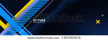 Vector abstract background texture design, bright poster, banner dark blue background, blue and yellow stripes and shapes. Slide for presentation, poster, material design, hipster style. #1305483076