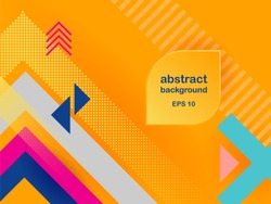 Vector abstract background texture design, bright poster, banner yellow background, pink and blue stripes and shapes.