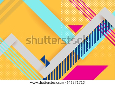 Vector abstract background texture design, bright poster, banner yellow background, pink and blue stripes and shapes. Hipster style. #646571713