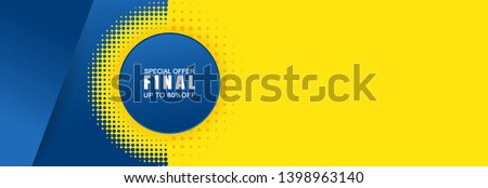 Vector abstract background texture  Sale banner template design, bright poster. Big sale special offer. banner yellow background, yellow and blue halftone and shapes.