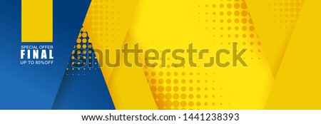 Vector abstract background texture  Sale banner template design, bright poster. Big sale special offer. banner yellow background, pink and blue stripes and shapes.
