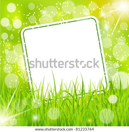 Vector abstract background with a bright greeting card in the grass