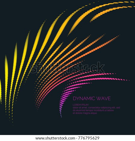 Vector abstract background with a colored dynamic waves, line and particles. Illustration suitable for design