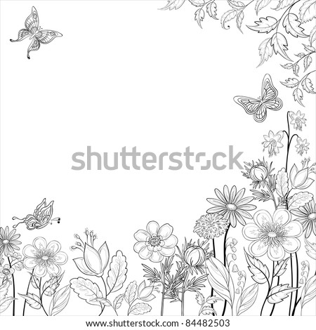 Vector, abstract background with a symbolical flowers and butterflies, monochrome contours