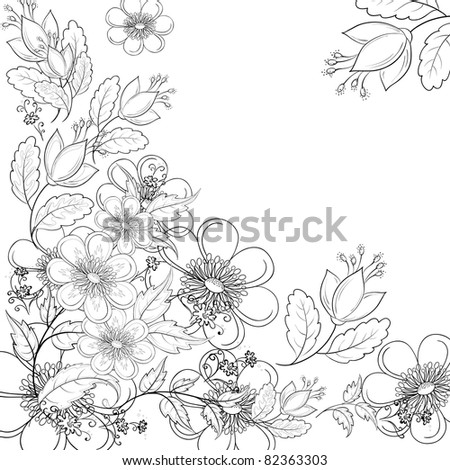 Vector, abstract background with a symbolical flowers, monochrome contours