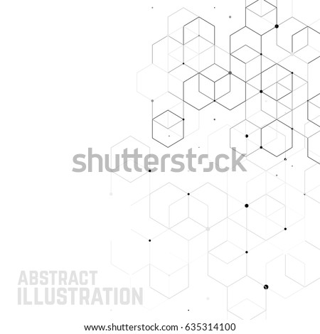 Vector abstract background with cube cell. Modern technology illustration with square mesh. Digital geometric abstraction with lines and points.