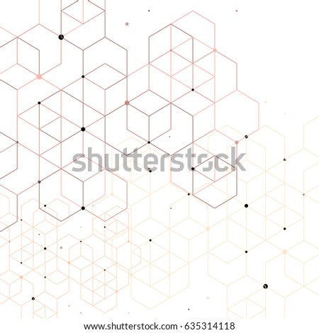 Vector abstract background with cube cell. Modern technology illustration with square mesh. Digital geometric abstraction with lines and points. #635314118
