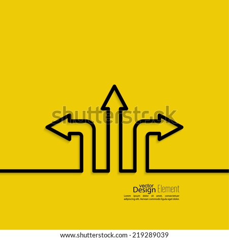Vector abstract background with direction arrow sign. The concept of a decision making standing on road junction. Movement in an unknown direction. uncertainty choice