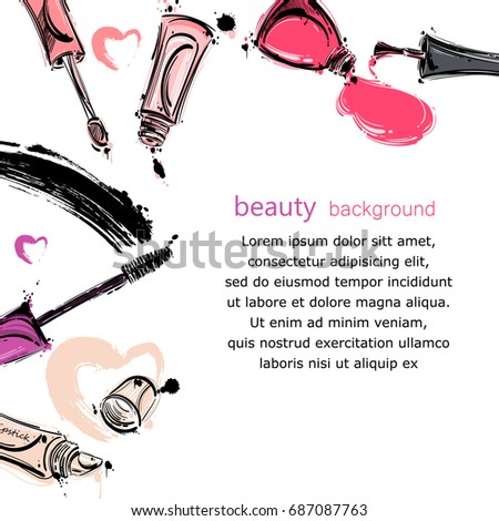 Vector abstract background with lip gloss, mascara, nail polish. Fashion illustration.