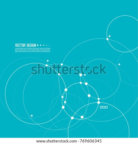 Vector abstract background with overlapping circles and dots. Chaotic motion. Round banner with empty space for text. Node molecule structure. Science and connection concept.