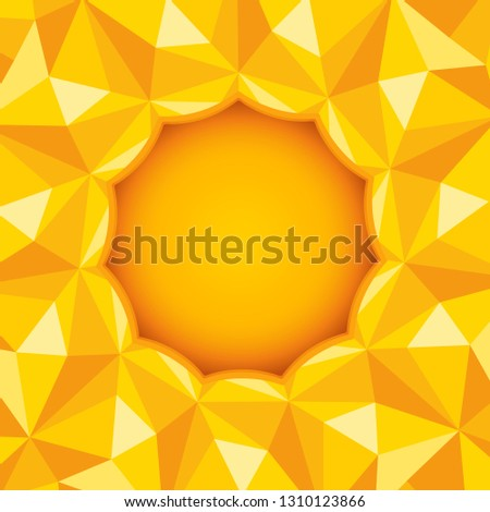 Vector abstract background with polygons. Background with sun and polygons.