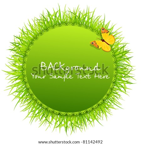 Vector abstract background with round greeting card with grass and a butterfly