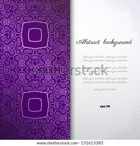 Vector abstract background with sample text. Decor is delicate. Perfect for invitations, announcement or greetings.