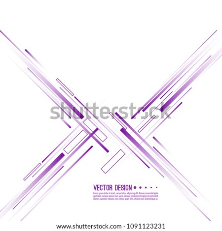 Vector abstract background with straight intersecting diagonal purple lines in minimalist style.