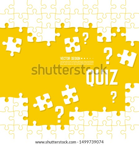 Vector abstract background with unfinished jigsaw puzzle pieces. Question mark and quiz  symbol. Problem solving concept.