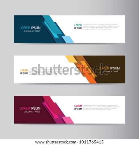 Vector abstract banner design web template. Abstract geometric design banner web template on grey background. Header footer Web Design Elements. Collection of web banner template #1011765415