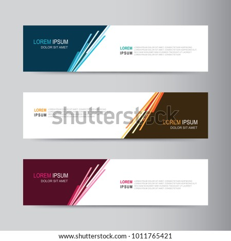 Vector abstract banner design web template. Abstract geometric design banner web template on grey background. Header footer Web Design Elements. Collection of web banner template #1011765421
