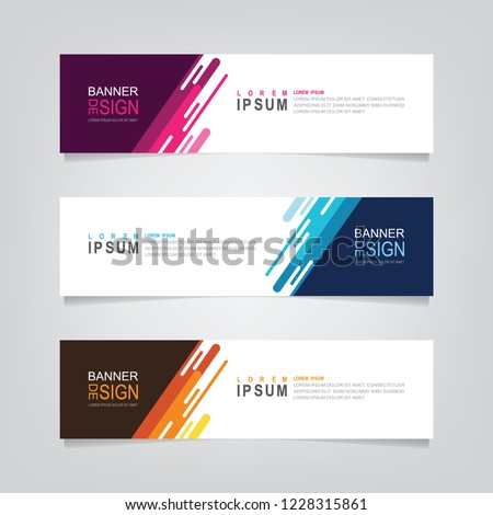 Vector abstract banner design web template. Abstract geometric design banner web template on grey background. Header footer Web Design Elements. Collection of web banner template #1228315861