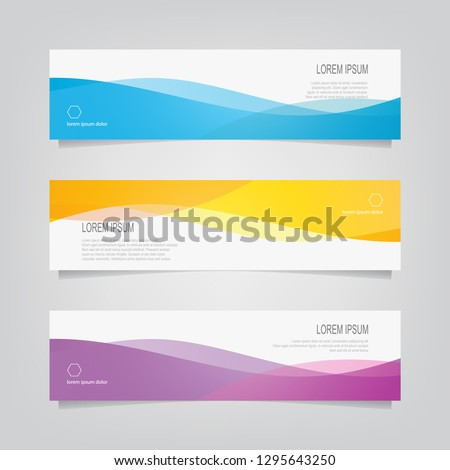 Vector abstract banner design web template. Abstract wavy geometric banner. Trendy gradient shapes composition. can used for header, footer, layout, letterhed, landing page. ストックフォト ©