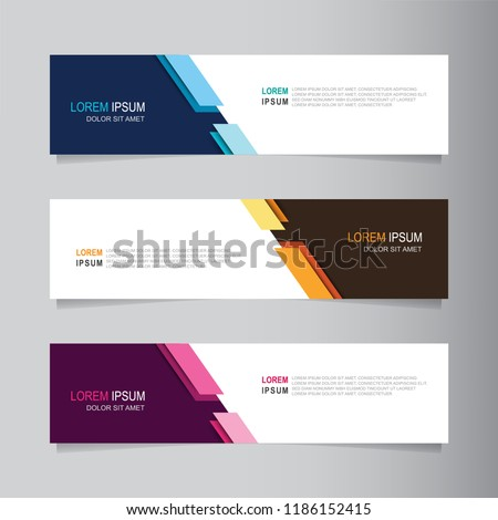 Vector abstract banner design web template. Collection of web banner template. Abstract geometric web design banner template isolated on grey background. Header - landing page Web Design Elements #1186152415