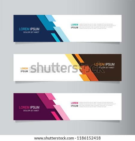 Vector abstract banner design web template. Collection of web banner template. Abstract geometric web design banner template isolated on grey background. Header - landing page Web Design Elements #1186152418