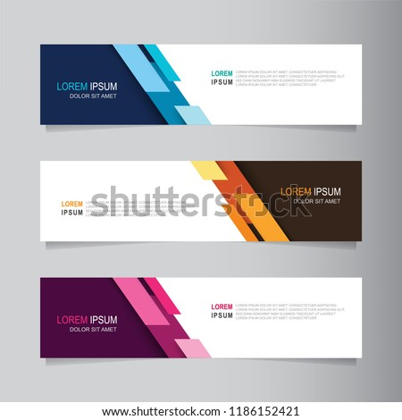 Vector abstract banner design web template. Collection of web banner template. Abstract geometric web design banner template isolated on grey background. Header - landing page Web Design Elements #1186152421
