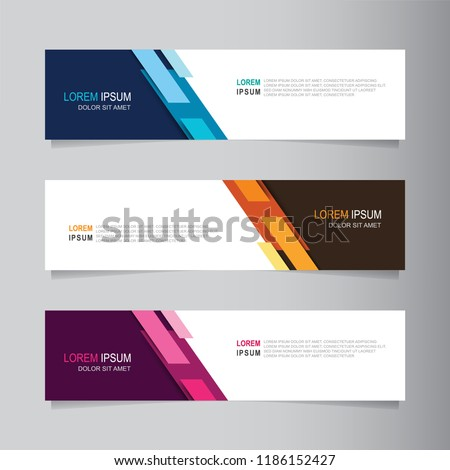 Vector abstract banner design web template. Collection of web banner template. Abstract geometric web design banner template isolated on grey background. Header - landing page Web Design Elements #1186152427