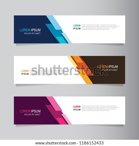 Vector abstract banner design web template. Collection of web banner template. Abstract geometric web design banner template isolated on grey background. Header - landing page Web Design Elements #1186152433