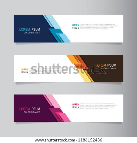 Vector abstract banner design web template. Collection of web banner template. Abstract geometric web design banner template isolated on grey background. Header - landing page Web Design Elements #1186152436